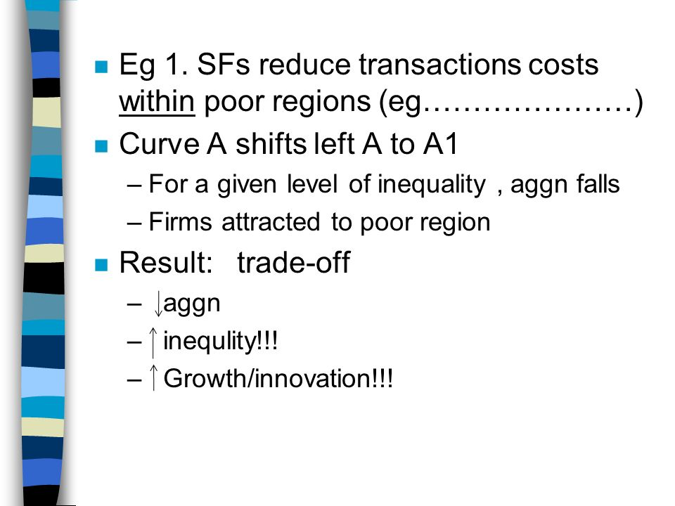 n Eg 1. SFs reduce transactions costs within poor regions (eg…………………) n Curve A shifts left A to A1 –For a given level of inequality, aggn falls –Firm