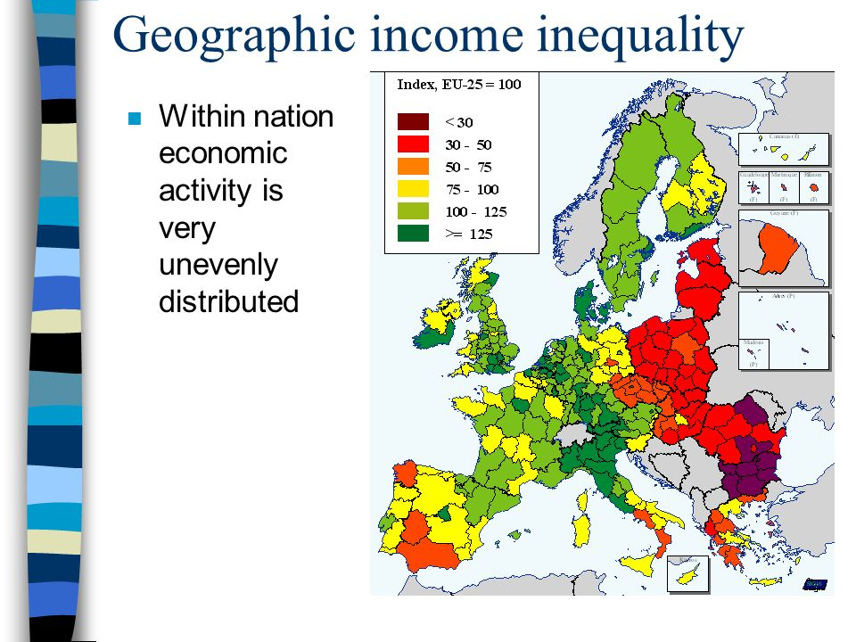 Geographic income inequality n Within nation economic activity is very unevenly distributed