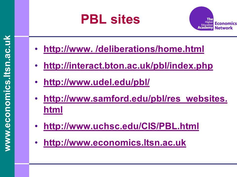 www.economics.ltsn.ac.uk PBL sites http://www.