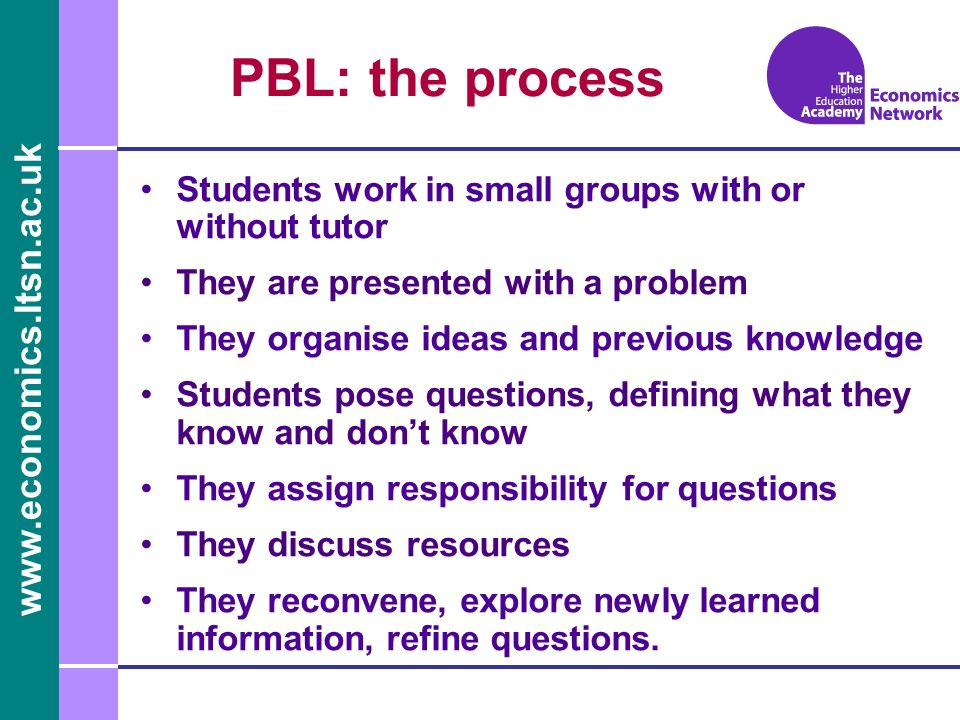 PBL: the process Students work in small groups with or without tutor They are presented with a problem They organise ideas and previous knowledge Students pose questions, defining what they know and dont know They assign responsibility for questions They discuss resources They reconvene, explore newly learned information, refine questions.