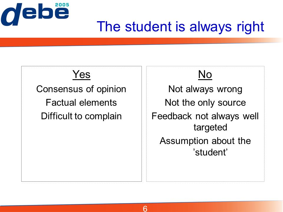 6 The student is always right Yes Consensus of opinion Factual elements Difficult to complain No Not always wrong Not the only source Feedback not always well targeted Assumption about the student