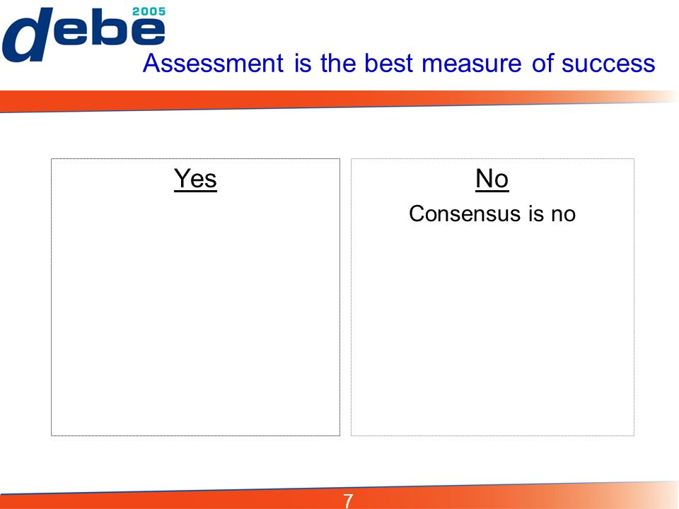 7 Assessment is the best measure of success YesNo Consensus is no