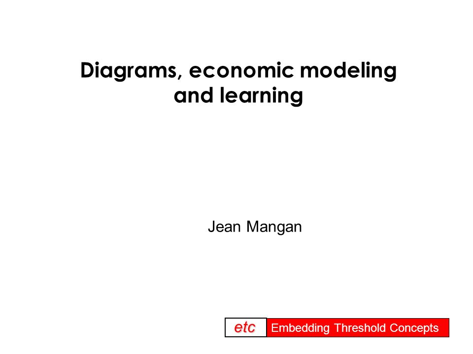 Embedding threshold concepts Embedding Threshold Concepts etc Diagrams, economic modeling and learning Jean Mangan