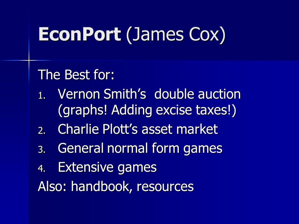 EconPort (James Cox) The Best for: 1. Vernon Smiths double auction (graphs.