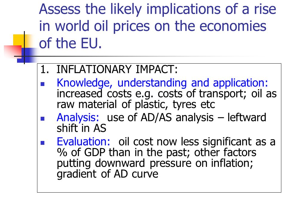 Assess the likely implications of a rise in world oil prices on the economies of the EU.