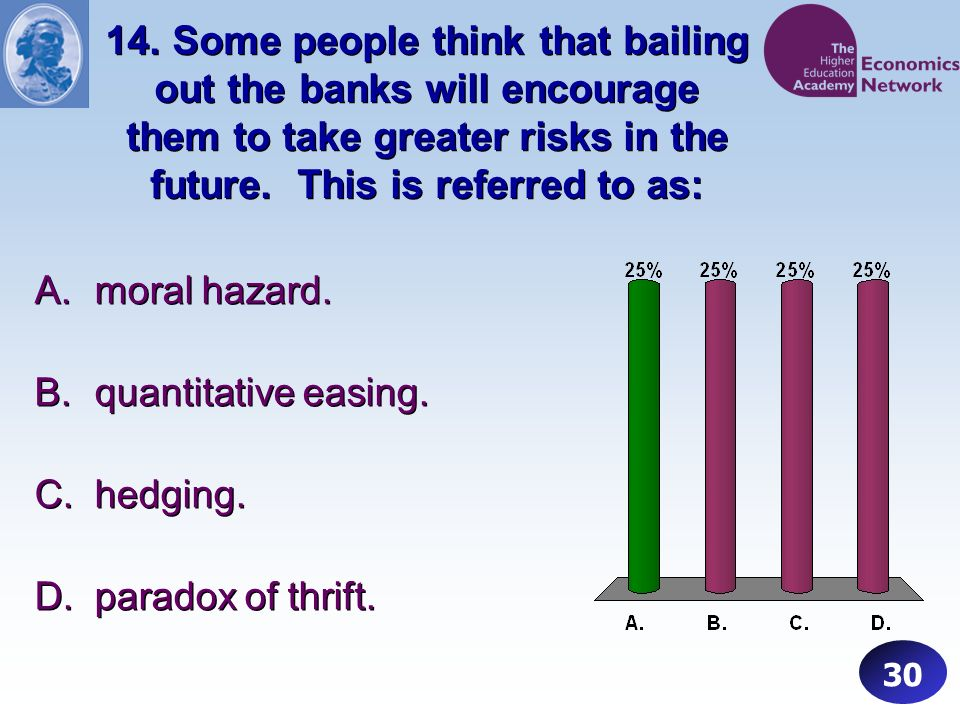 14. Some people think that bailing out the banks will encourage them to take greater risks in the future. This is referred to as: 30 A.moral hazard. B