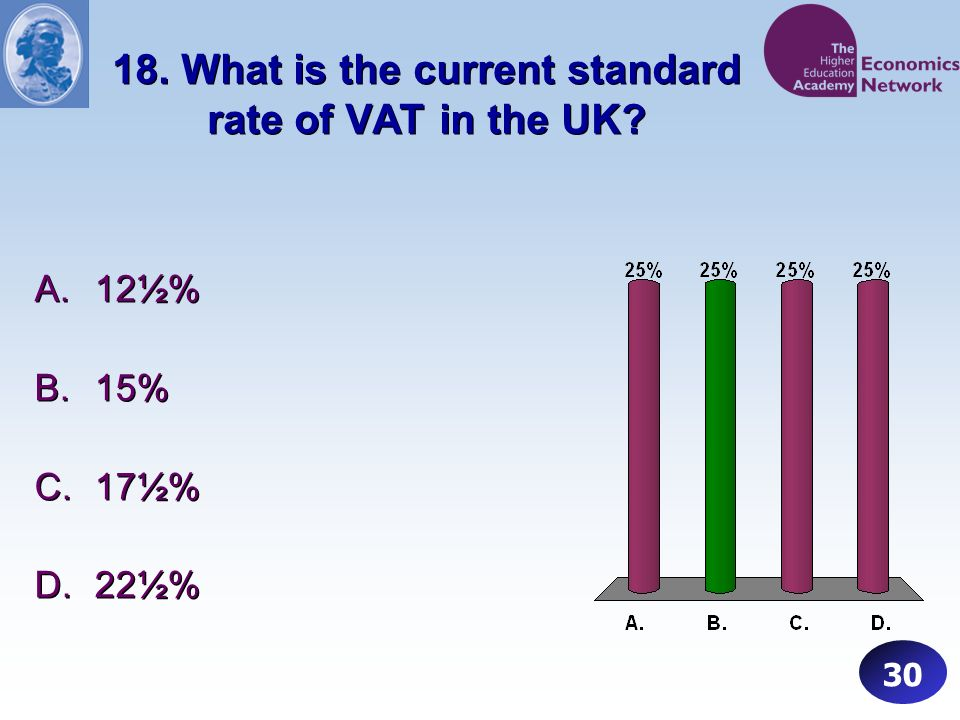 18. What is the current standard rate of VAT in the UK.