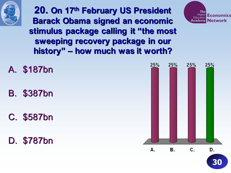 20. On 17 th February US President Barack Obama signed an economic stimulus package calling it the most sweeping recovery package in our history – how