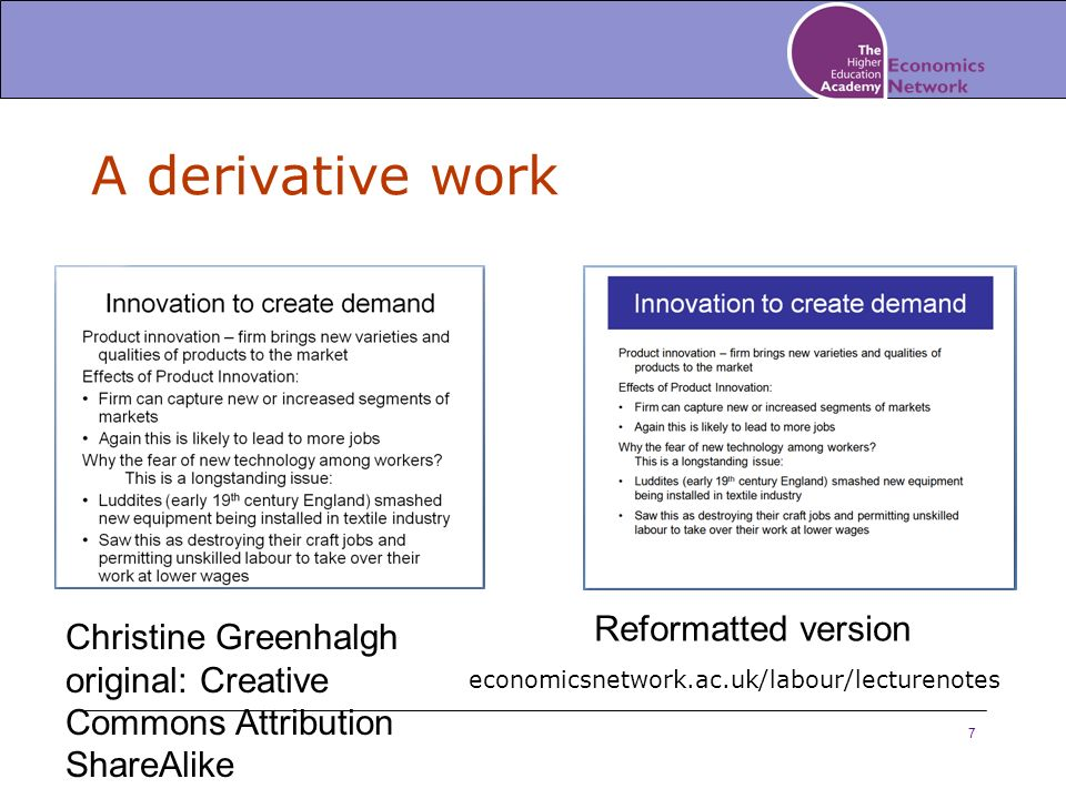 7 A derivative work Christine Greenhalgh original: Creative Commons Attribution ShareAlike Reformatted version economicsnetwork.ac.uk/labour/lecturenotes