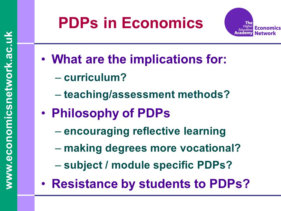www.economicsnetwork.ac.uk Module PDP at UWE 1.Introduction –This sets the scene and locates the topic in the overall syllabus 2.Learning objectives (L/obj) –Up to 12 learning objectives are devised for each topic and students are invited to evaluate and rate (1= fairly weak to 5 = good) their ability in each learning objective.