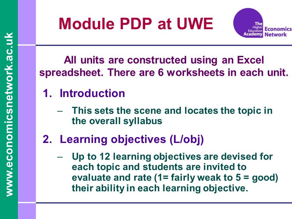 Module PDP at UWE 1.Introduction –This sets the scene and locates the topic in the overall syllabus 2.Learning objectives (L/obj) –Up to 12 learning objectives are devised for each topic and students are invited to evaluate and rate (1= fairly weak to 5 = good) their ability in each learning objective.
