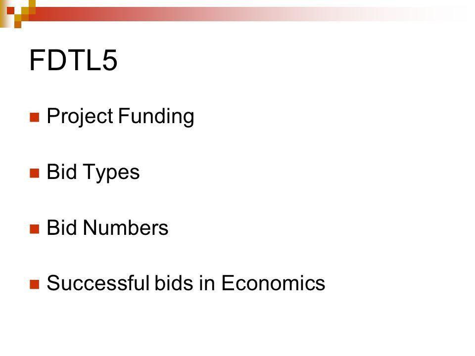 FDTL5 Project Funding Bid Types Bid Numbers Successful bids in Economics