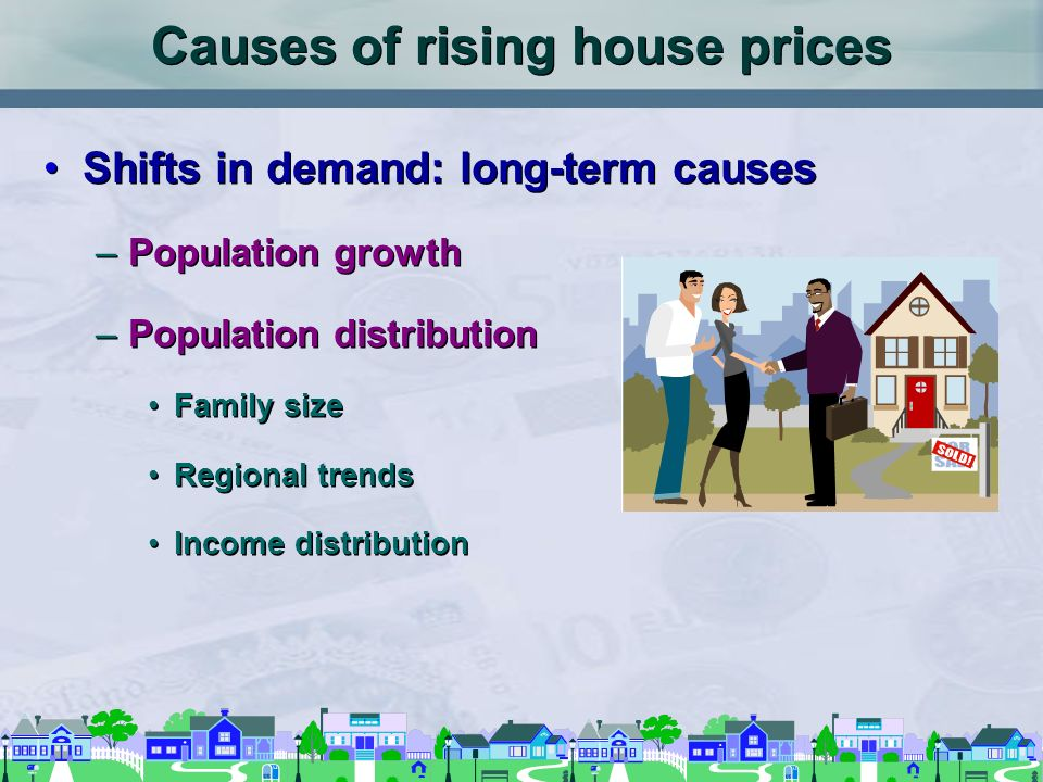 Causes of rising house prices Shifts in demand: long-term causes –Population growth –Population distribution Family size Regional trends Income distribution Shifts in demand: long-term causes –Population growth –Population distribution Family size Regional trends Income distribution