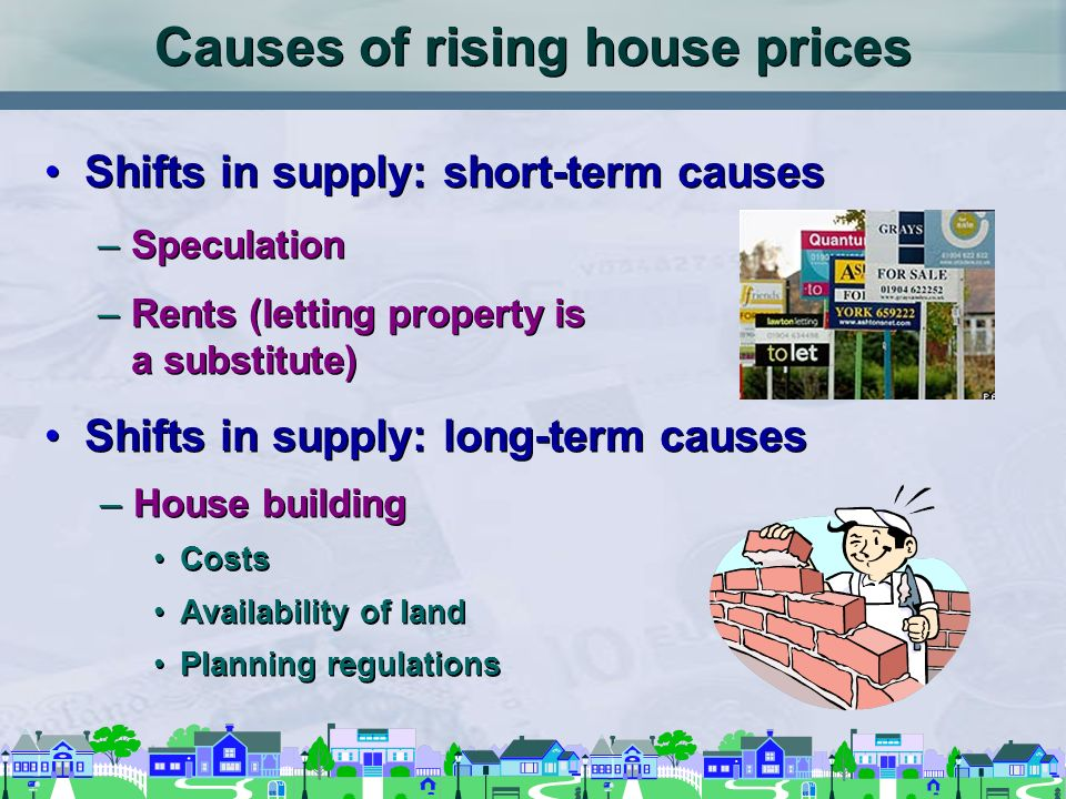 Causes of rising house prices Shifts in supply: short-term causes –Speculation –Rents (letting property is a substitute) Shifts in supply: long-term causes Shifts in supply: short-term causes –Speculation –Rents (letting property is a substitute) Shifts in supply: long-term causes –House building Costs Availability of land Planning regulations –House building Costs Availability of land Planning regulations