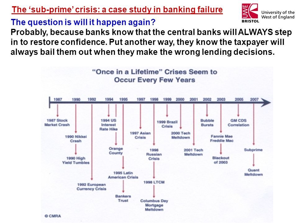 The sub-prime crisis: a case study in banking failure The question is will it happen again? Probably, because banks know that the central banks will A