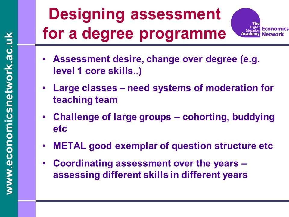 www.economicsnetwork.ac.uk Designing assessment for a degree programme Assessment desire, change over degree (e.g.