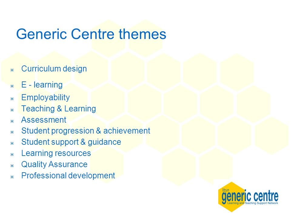 Generic Centre themes z Curriculum design z E - learning z Employability z Teaching & Learning z Assessment z Student progression & achievement z Student support & guidance z Learning resources z Quality Assurance Professional development