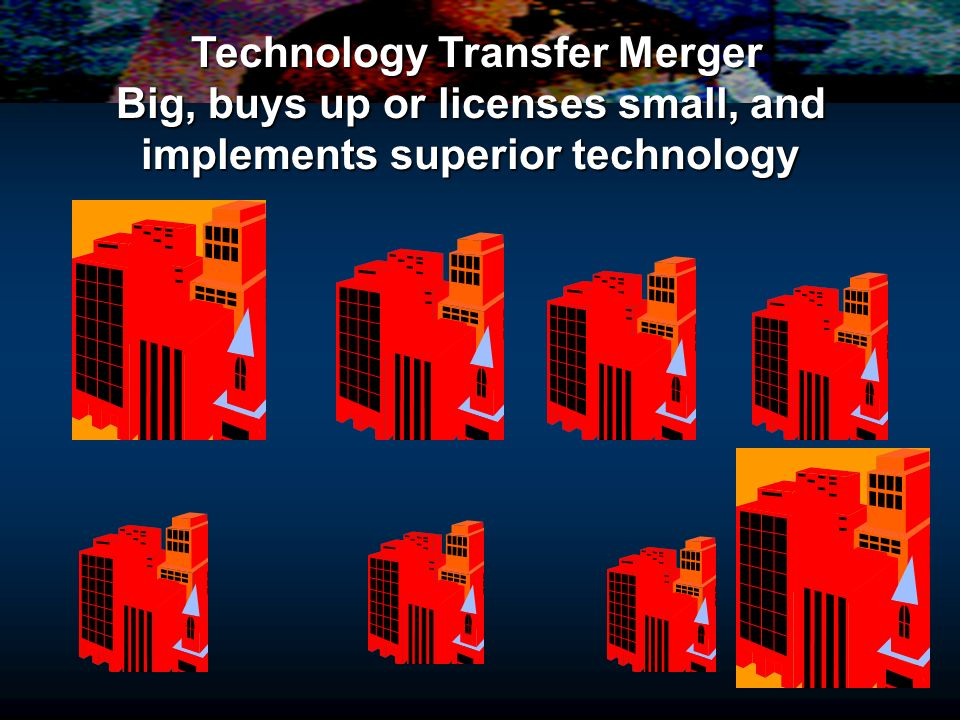 Technology Transfer Merger Big, buys up or licenses small, and implements superior technology Technology Transfer Merger Big, buys up or licenses smal