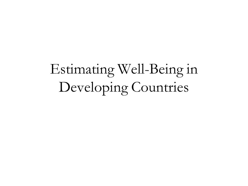 Estimating Well-Being in Developing Countries