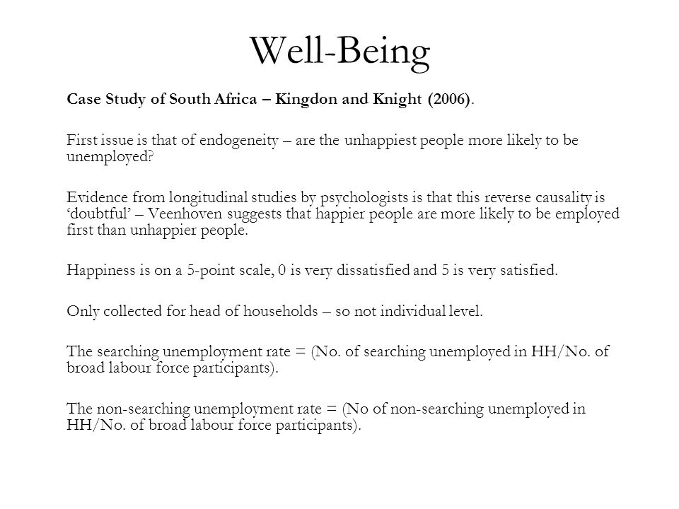 Well-Being Case Study of South Africa – Kingdon and Knight (2006).