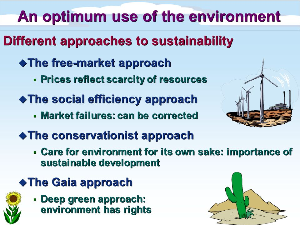 An optimum use of the environment Different approaches to sustainability u The free-market approach Prices reflect scarcity of resources u The social