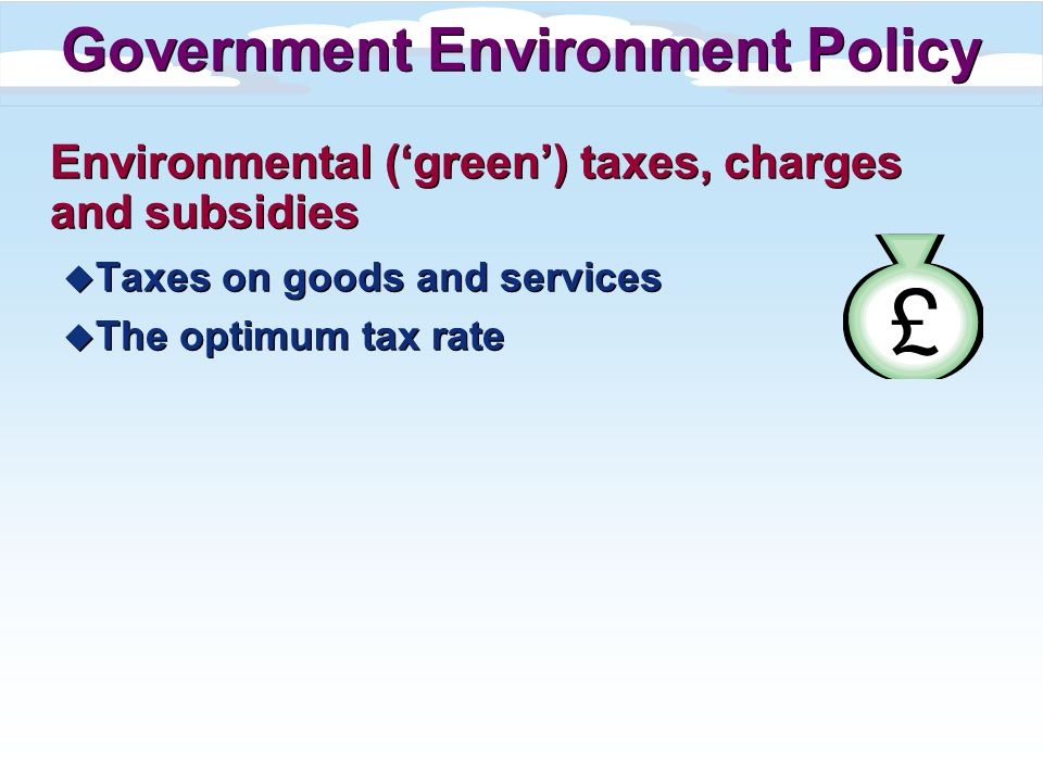 Environmental (green) taxes, charges and subsidies u Taxes on goods and services u The optimum tax rate Environmental (green) taxes, charges and subsi