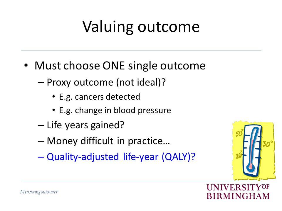 Measuring outcomes What are QALYs.