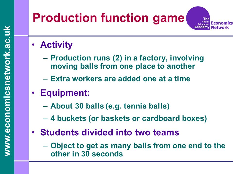 www.economicsnetwork.ac.uk Production function game Activity –Production runs (2) in a factory, involving moving balls from one place to another –Extra workers are added one at a time Equipment: –About 30 balls (e.g.