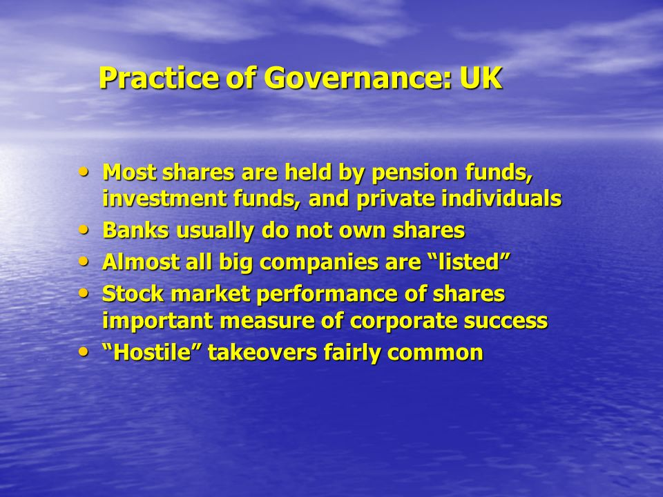 Practice of Governance: UK Most shares are held by pension funds, investment funds, and private individuals Most shares are held by pension funds, investment funds, and private individuals Banks usually do not own shares Banks usually do not own shares Almost all big companies are listed Almost all big companies are listed Stock market performance of shares important measure of corporate success Stock market performance of shares important measure of corporate success Hostile takeovers fairly common Hostile takeovers fairly common