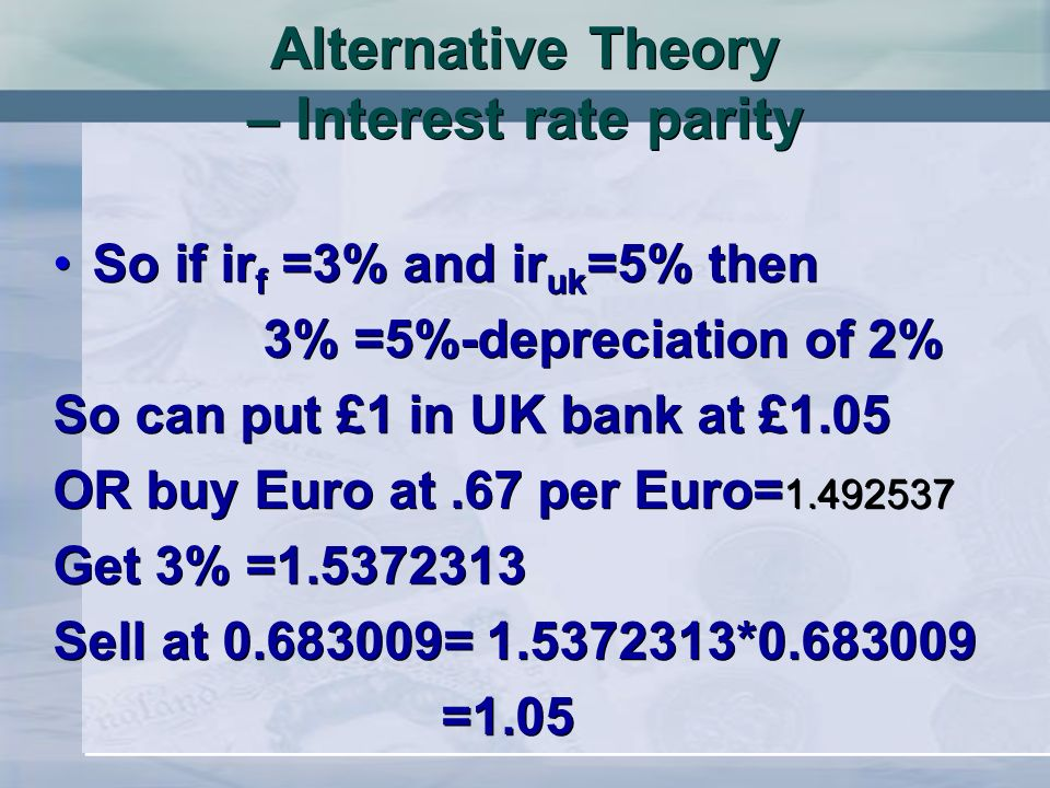 Alternative Theory – Interest rate parity So if ir f =3% and ir uk =5% then 3% =5%-depreciation of 2% So can put £1 in UK bank at £1.05 OR buy Euro at