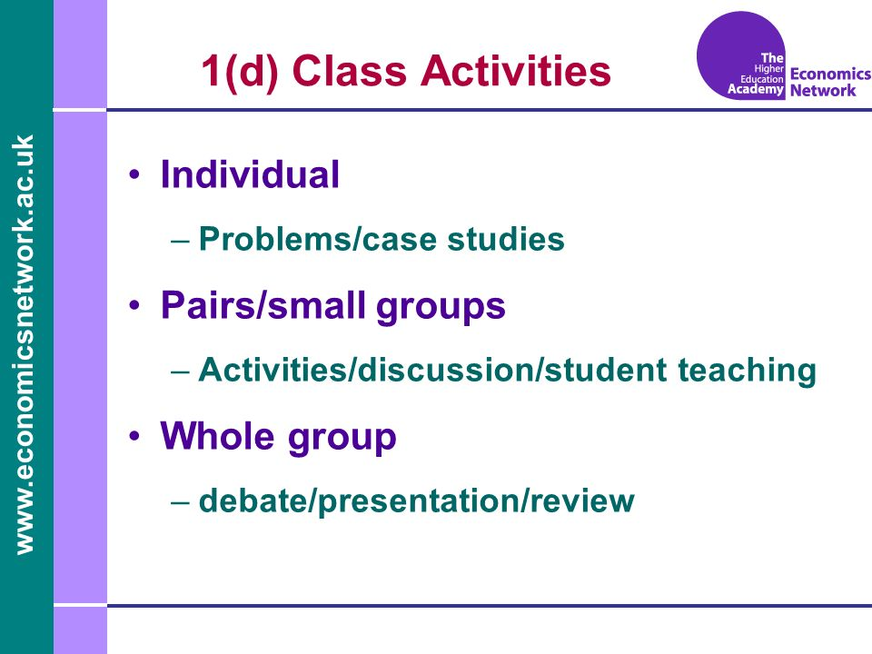 1(d) Class Activities Individual –Problems/case studies Pairs/small groups –Activities/discussion/student teaching Whole group –debate/presentation/review