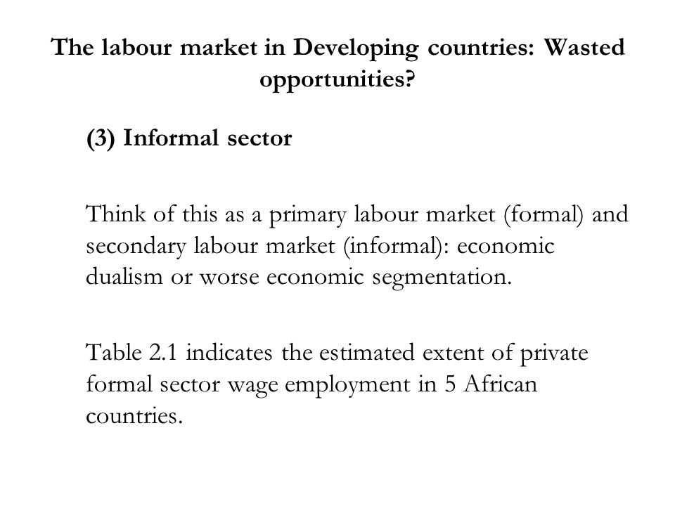 The labour market in Developing countries: Wasted opportunities? (3) Informal sector Think of this as a primary labour market (formal) and secondary l