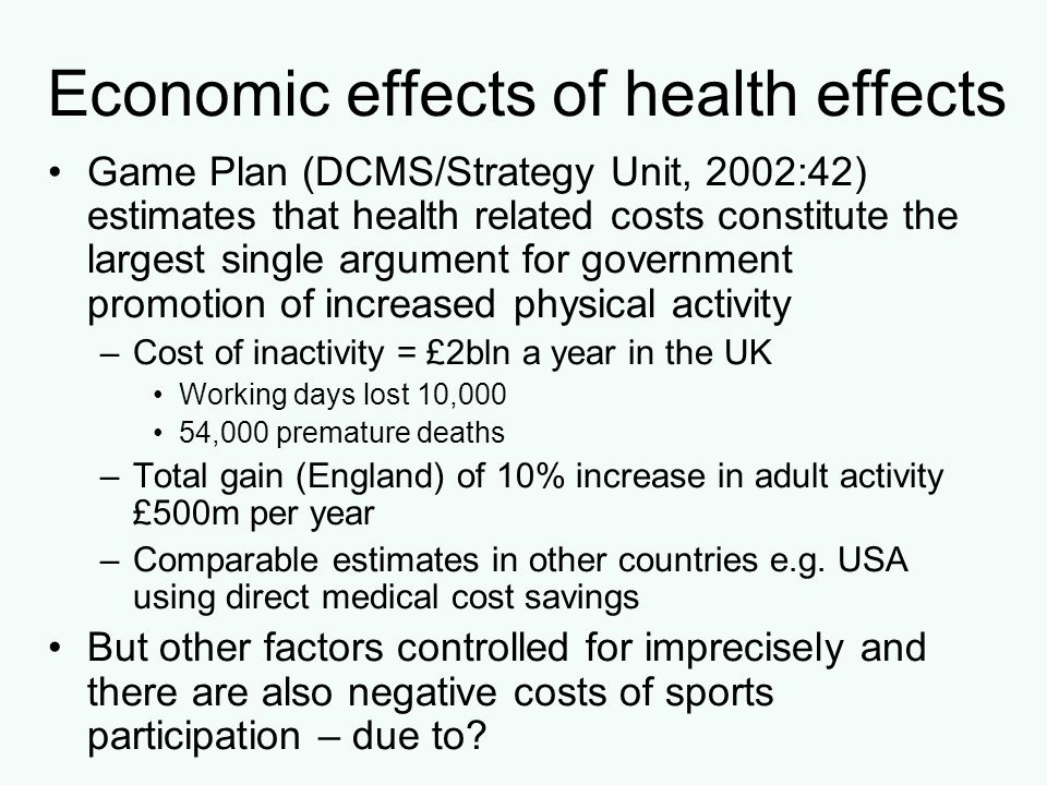 Other possible external benefits: (1) Education Participation in sport may generate and/or reinforce educational goals by: – Exposing students to social relations with achievement orientated peers and educational personnel Attracting under-achieving students to education –Increasing the visibility and popularity of an individual –Helping students to acquire skills and qualities that can improve educational performance e.g.
