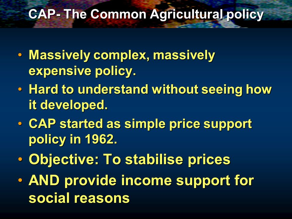 Lecture 4: Common Agricultural Policy Based on Sloman Chapter 3.4 and Chapter 8, Swann Lecture 4: Common Agricultural Policy Based on Sloman Chapter 3.4 and Chapter 8, Swann
