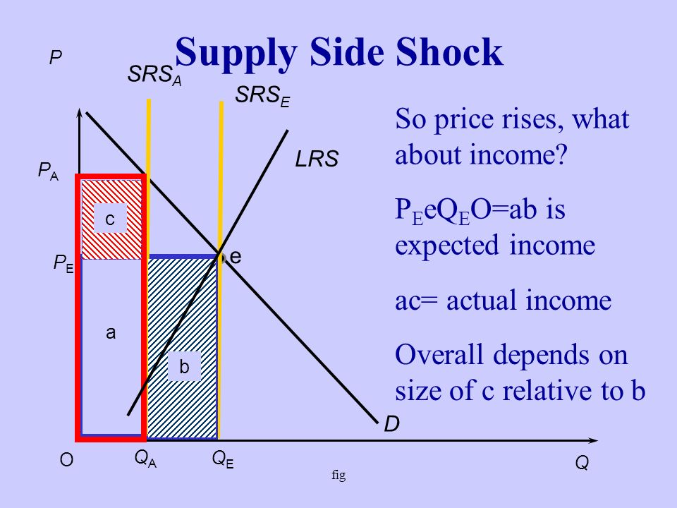 fig Supply Side Shock D PEPE QEQE P Q O e LRS LRS is the long-run supply curve.