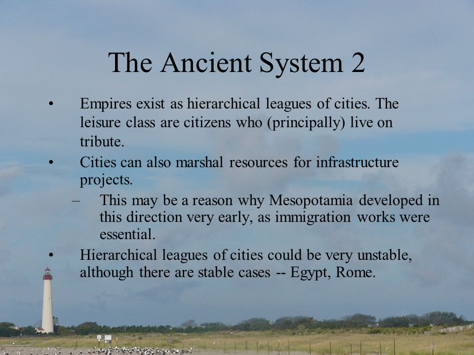The Ancient System 2 Empires exist as hierarchical leagues of cities.