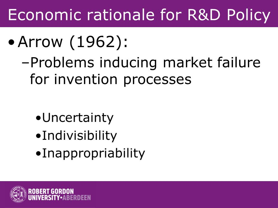 Economic rationale for R&D Policy Arrow (1962): –Problems inducing market failure for invention processes Uncertainty Indivisibility Inappropriability