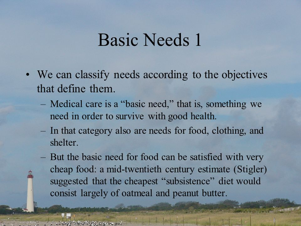 Basic Needs 1 We can classify needs according to the objectives that define them.