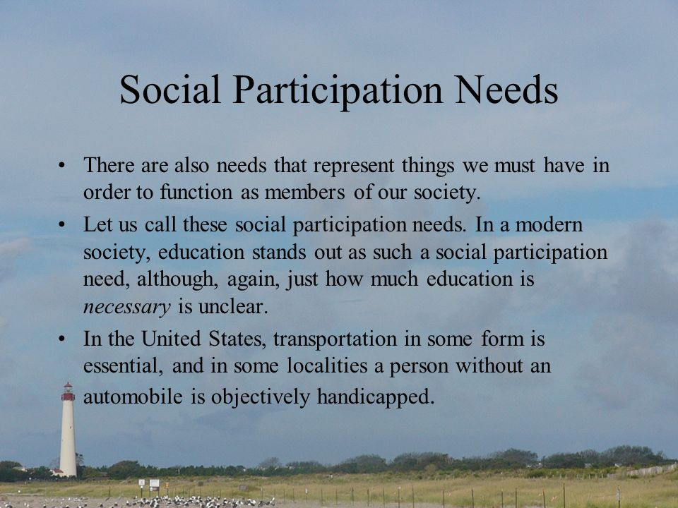 Social Participation Needs There are also needs that represent things we must have in order to function as members of our society.