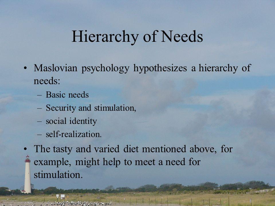 Hierarchy of Needs Maslovian psychology hypothesizes a hierarchy of needs: –Basic needs –Security and stimulation, –social identity –self-realization.