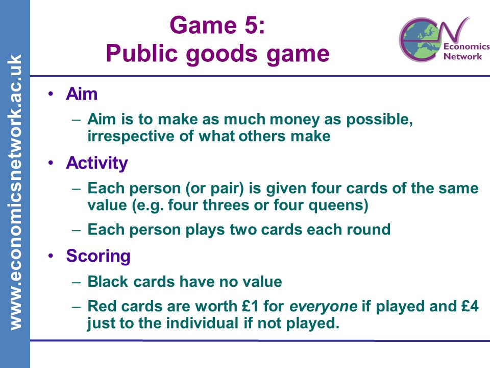 www.economicsnetwork.ac.uk Game 5: Public goods game Aim –Aim is to make as much money as possible, irrespective of what others make Activity –Each person (or pair) is given four cards of the same value (e.g.