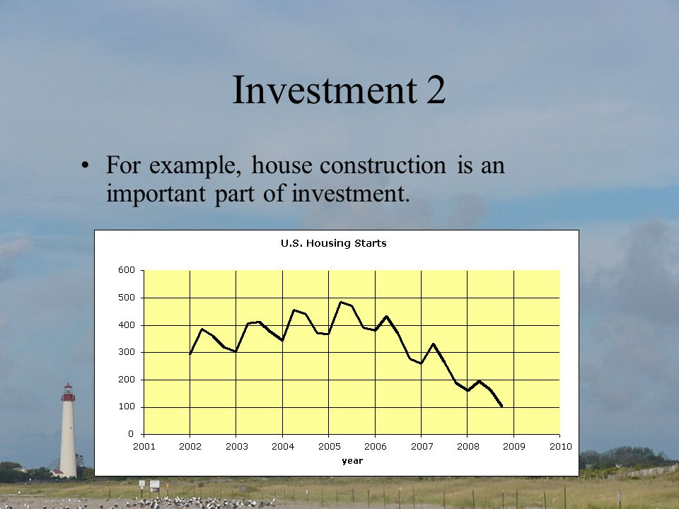 Investment 2 For example, house construction is an important part of investment.