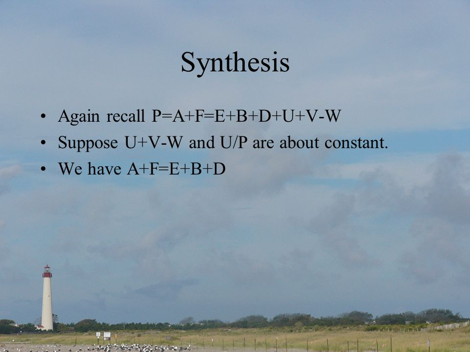 Synthesis Again recall P=A+F=E+B+D+U+V-W Suppose U+V-W and U/P are about constant.