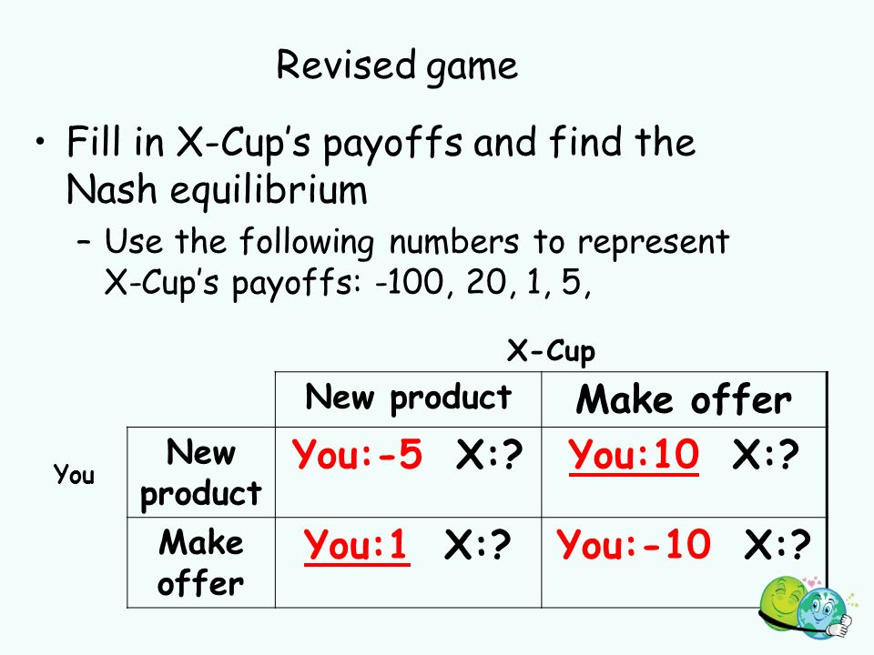 Revised game Fill in X-Cups payoffs and find the Nash equilibrium –Use the following numbers to represent X-Cups payoffs: -100, 20, 1, 5, X-Cup New product Make offer You New product You:-5 X: You:10 X:.
