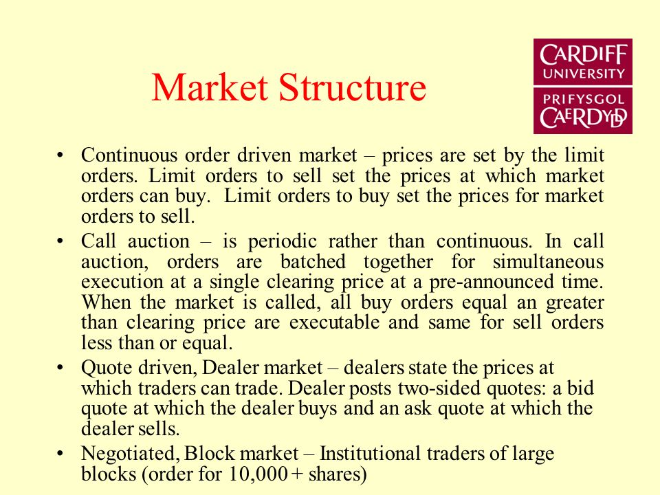 Implicit execution costs Bid-ask spread – an active trader buys at the offer and sells at the bid.