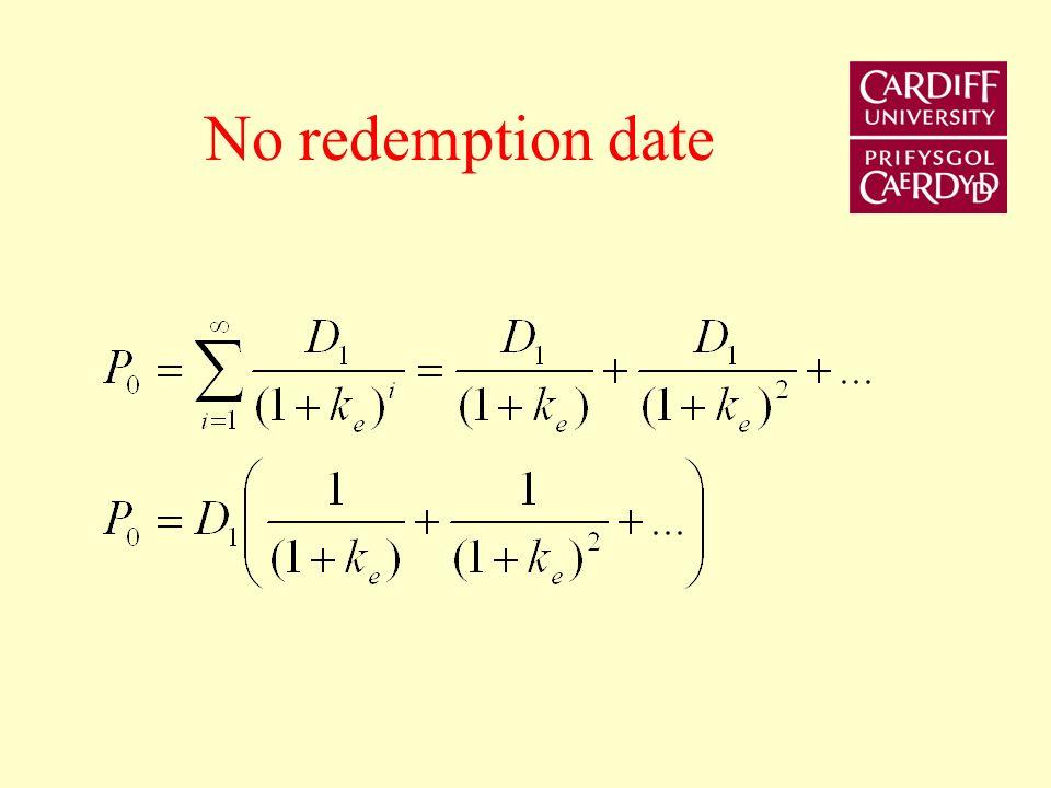 No redemption date
