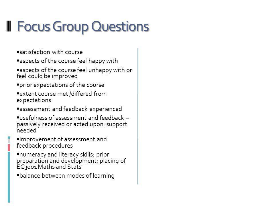 Focus Group Questions satisfaction with course aspects of the course feel happy with aspects of the course feel unhappy with or feel could be improved prior expectations of the course extent course met /differed from expectations assessment and feedback experienced usefulness of assessment and feedback – passively received or acted upon; support needed improvement of assessment and feedback procedures numeracy and literacy skills: prior preparation and development; placing of EC3001 Maths and Stats balance between modes of learning