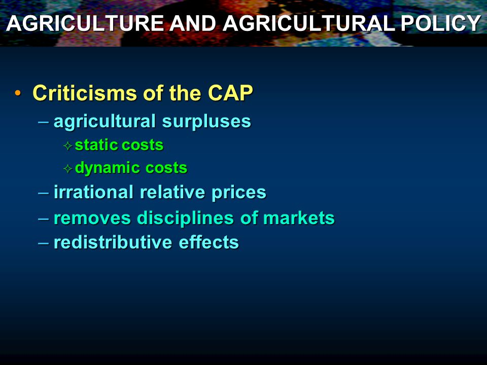 AGRICULTURE AND AGRICULTURAL POLICY Criticisms of the CAPCriticisms of the CAP –agricultural surpluses static costs static costs dynamic costs dynamic