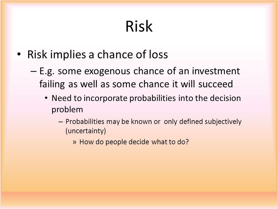 Risk Risk implies a chance of loss – E.g.