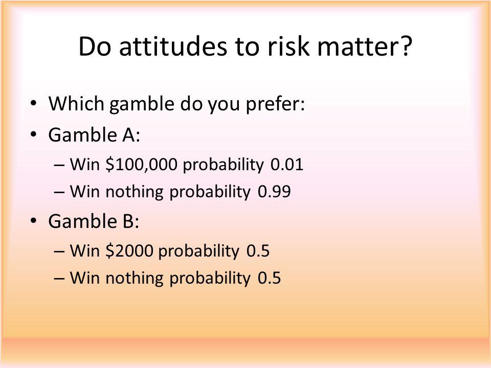 Do attitudes to risk matter.
